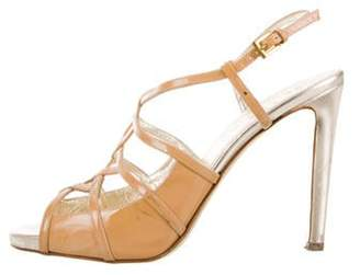 Valentino Patent Leather Ankle Strap Sandals Tan Patent Leather Ankle Strap Sandals