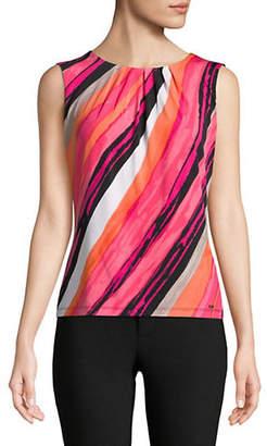 Calvin Klein Diagonal Striped Pleated Tank Top
