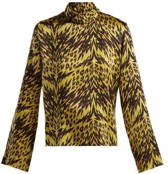 Aries Tiger Print High Neck Satin Top - Womens - Black Multi
