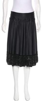 Magaschoni Embellished Silk Knee-Length Skirt