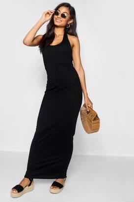 boohoo Halterneck Plunge Jersey Maxi Dress