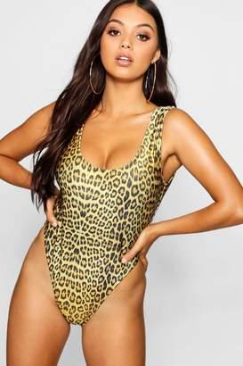 71703a6469e boohoo Petite Leopard Print High Leg Swimsuit