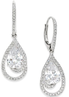 Eliot Danori Silver-Tone Crystal Teardrop and Pave Drop Earrings, Created for Macy's