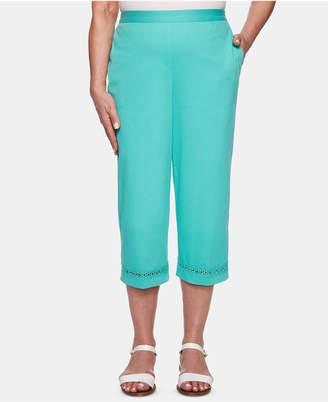 Alfred Dunner Petite Coastal Drive Embellished-Hem Cropped Pants