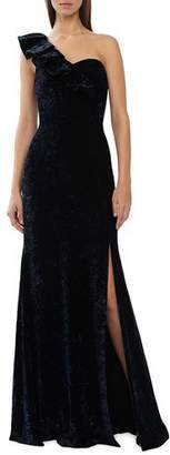 ML Monique Lhuillier One-Shoulder Velvet Gown w/ Thigh Slit