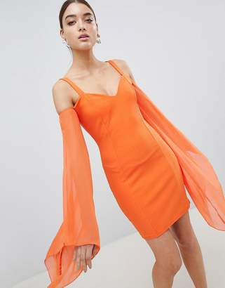 Club L Angel Wing Chiffon Scuba Bodycon Dress