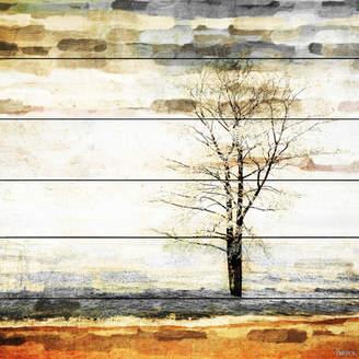 Parvez Taj Mercury Row 'Lone Tree' by Painting Print on White Wood