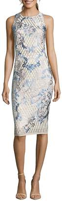 Nicole Miller New York Women's Embroidered Sleeveless Sheath Dress