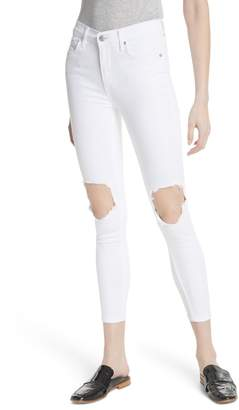 Free People High Waist Busted Knee Skinny Jeans