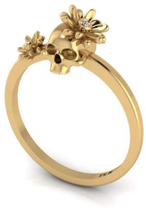 Antoanetta 14k Yellow Gold Skull & Flowers Ring