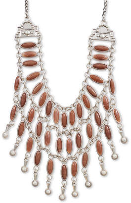 "Lucky Brand Silver-Tone Stone Statement Necklace, 19"" + 2"" extender"