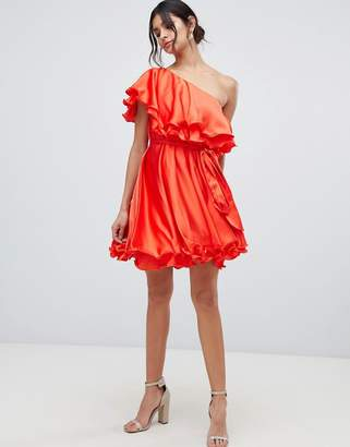 Forever Unique ruffle one shoulder mini dress