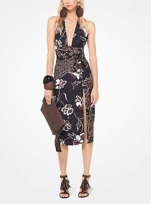 Michael Kors Mixed Floral Douppioni Halter Dress