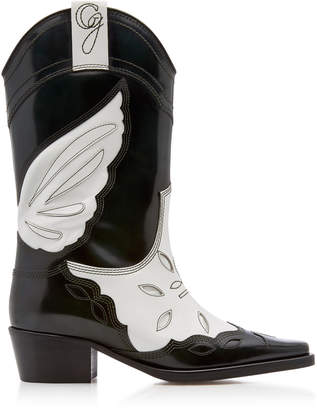 Ganni Tall Patent Leather Cowboy Boots Size: 36