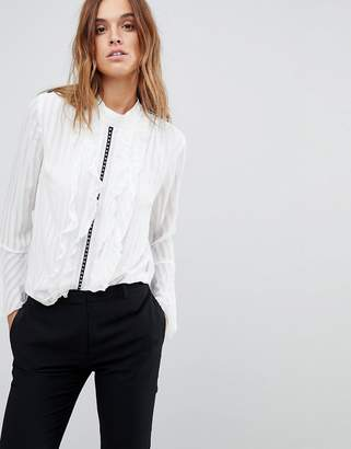 Religion Sheer High Neck Shirt With Hardware Trim