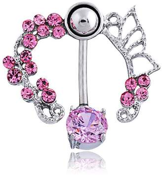 Bellybutton Oasis Plus 14g Butterfly Flower Crystal Navel Rings Rhinestone Ring Surgical Steel Body Glitters Piercing Jewelry