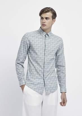 Emporio Armani Printed Cotton Shirt With Italian Spread Collar