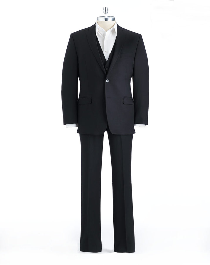 Calvin Klein Three-Piece Pinstriped Slim-Cut Wool Suit