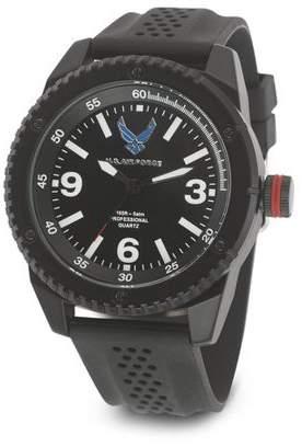 WRIST ARMOR Wrist Armor Men's U.S. Air Force C20 Watch, Black and White Dial, Black Rubber Strap