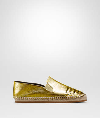 Bottega Veneta GALA ESPADRILLE IN LIGHT GOLD CALF INTRECCIATO