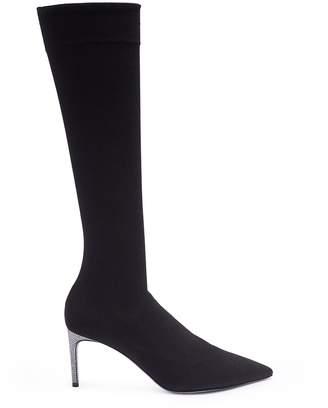 Strass heel sock knit boots