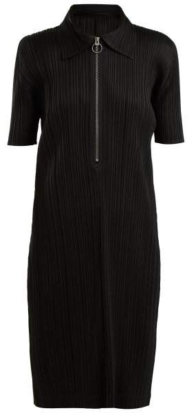 Point-collar pleated dress
