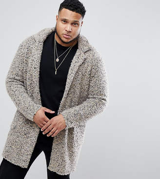 Asos DESIGN Longline Heavyweight Knitted Duster Cardigan in Oatmeal