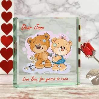 GiftsOnline4U Personalised Glass Block With Romantic Cute Bear Design