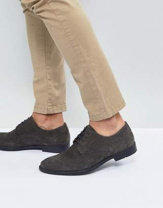 Asos Design Casual Brogue Shoes In Gray Suede With Distressed Sole