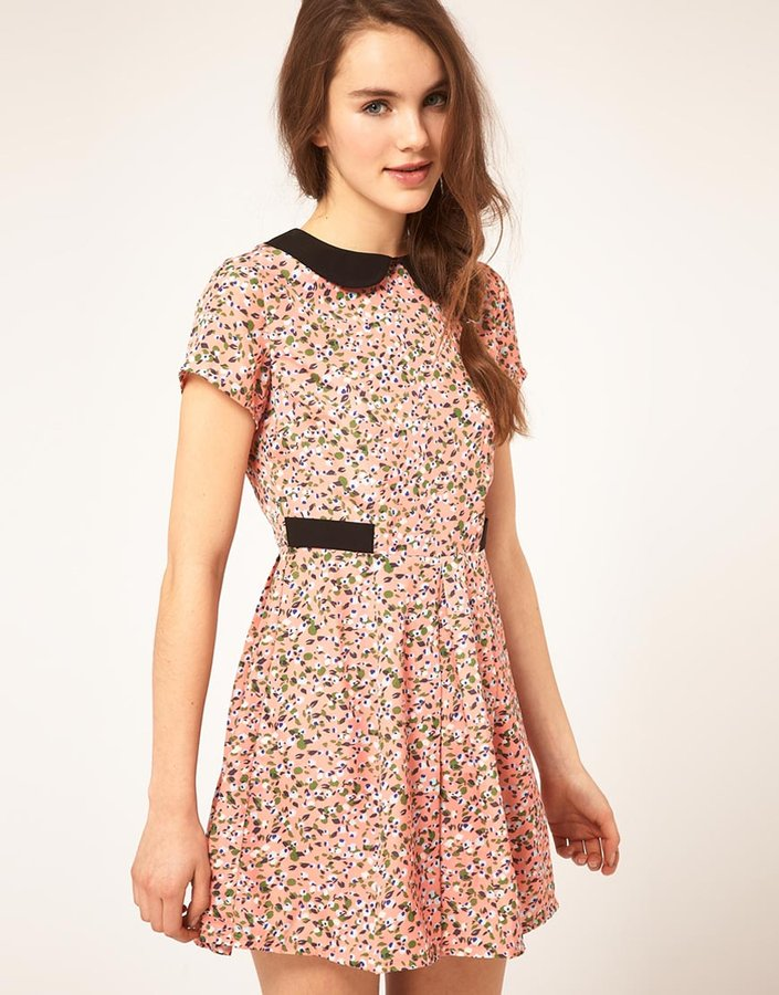 Dahlia Ditsy Floral Dress With Contrast Collar