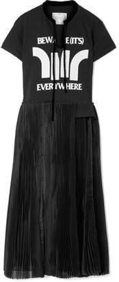 Sacai Layered Printed Jersey, Chiffon And Satin Dress - Black