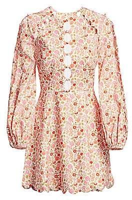Zimmermann Women's Goldie Scalloped Floral Mini Dress