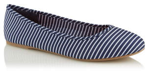 George Navy Striped Ballet Shoes