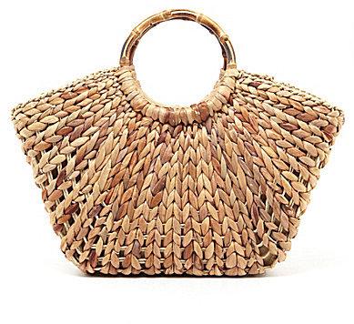 Straw Studios Wooden Handle Straw Satchel Bag