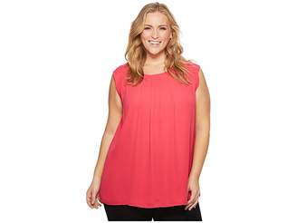 Vince Camuto Specialty Size Plus Size Sleeveless Pleat Neck Blouse Women's Blouse