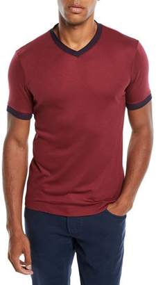 Giorgio Armani Men's Contrast-Trim V-Neck T-Shirt, Burgundy