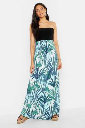 boohoo Tall Palm Print Bandeau Maxi Dress
