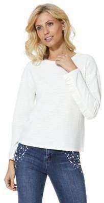 Jacqueline De Yong JDY Frill Trim Textured Stripe Sweatshirt