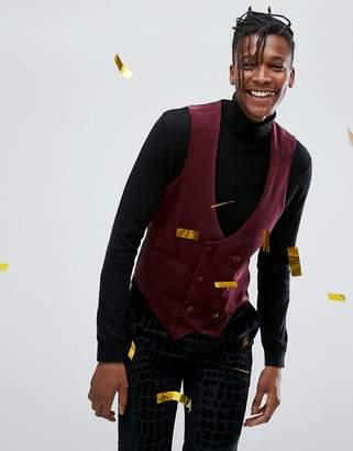 Asos DESIGN skinny vest in burgundy velvet