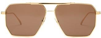 Bottega Veneta Hexagonal Logo Engraved Aviator Metal Sunglasses - Womens - Black Gold