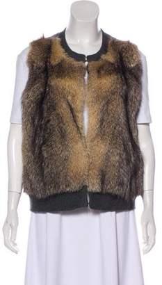Neiman Marcus Fur-Trimmed Cashmere Vest