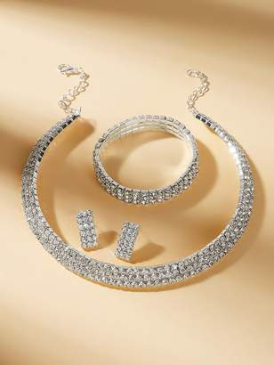 Shein Rhinestone Design Choker & Earrings & Bracelet Set 4pcs
