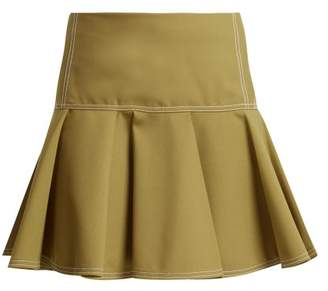 Chloé Mid Rise Wool Blend Skirt - Womens - Light Brown