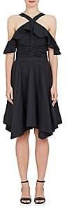 WOMEN'S RUFFLED COTTON POPLIN OFF-THE-SHOULDER DRESS - BLACK SIZE 2