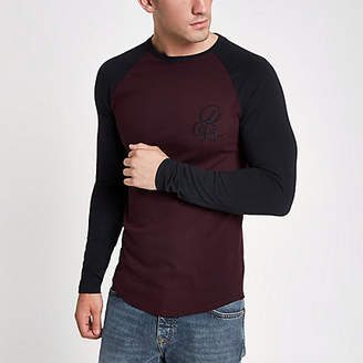 River Island Dark red muscle fit raglan T-shirt