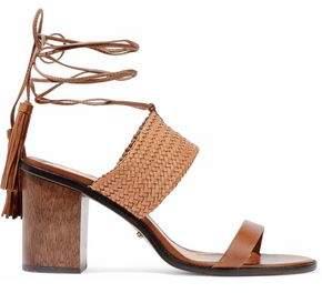 Schutz Luky Suede-Trimmed Braided Leather Sandals