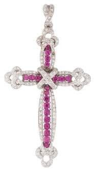 18K Diamond & Pink Sapphire Cross Pendant