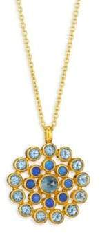 Gurhan Juju Opal, Blue Topaz, 22K Yellow Gold, 24K Yellow Gold& 18K Yellow Gold Evil Eye Pendant Neckl