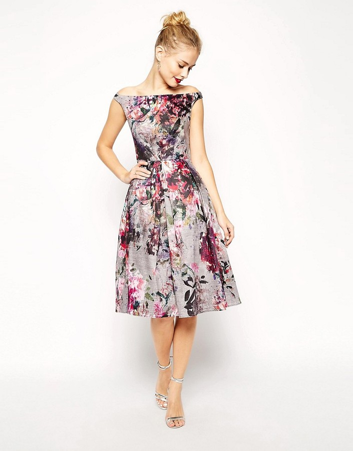 ASOS COLLECTION ASOS Beautiful Floral Printed Midi Prom Dress