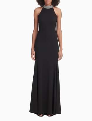 Calvin Klein Embellished Halter Neck Gown